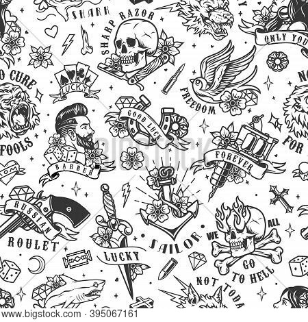 Tattoos Vintage Seamless Pattern With Pretty Woman Skull Tattoo Machine Anchor Stylish Man Swallow R