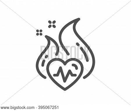 Cardio Training Line Icon. Fat Burning Workout Sign. Gym Fit Heartbeat Symbol. Quality Design Elemen