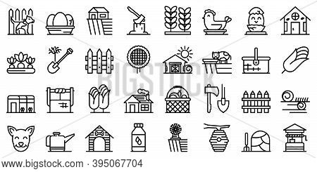 Village Icons Set. Outline Set Of Village Vector Icons For Web Design Isolated On White Background