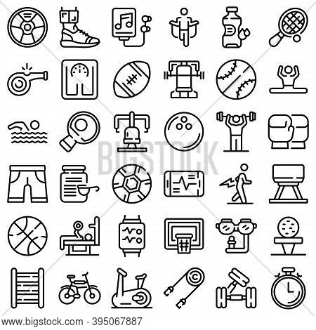 Physical Activity Icons Set. Outline Set Of Physical Activity Vector Icons For Web Design Isolated O