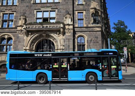 Wuppertal, Germany - September 19, 2020: People Ride Local City Bus In Elberfeld District In Wuppert