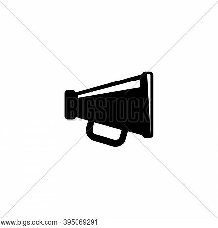 Megaphone, Announcement Loudspeaker. Flat Vector Icon Illustration. Simple Black Symbol On White Bac