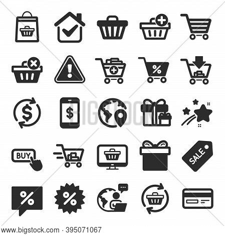 Shopping Icons. Gift Box, Present Coupon And Sale Offer Tag Signs. Shopping Cart, Surprise Gift And