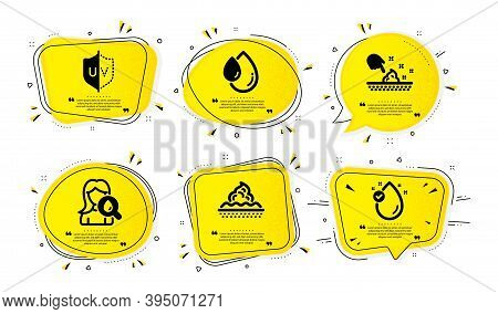 Uv Protection, Skin Care And Skin Moisture Icons Simple Set. Yellow Speech Bubbles With Dotwork Effe