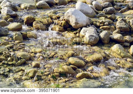 Fresh Flowing Water Of The Rocky Stream Mollarino Amid The Italian Apennine Mountains Of The Lazio R
