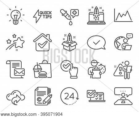 Education Icons Set. Included Icon As Mail Letter, Start Business, 24 Hours Signs. Approved Message,