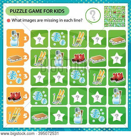 Sudoku Puzzle. What Images Are Missing In Each Line? Ski, Skates, Snowman, Wood Sledge. Winter Leisu