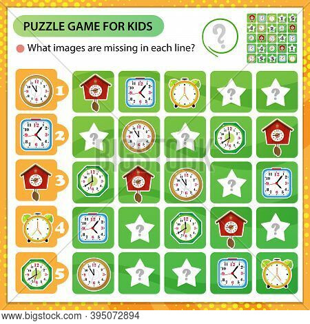 Sudoku Puzzle. What Images Are Missing In Each Line? Watches. Alarm Clock, Wall Clock With Cuckoo, E