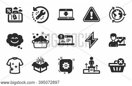 Success Business, Recovery Tool And Outsourcing Icons Simple Set. Online Help, Cogwheel And Business