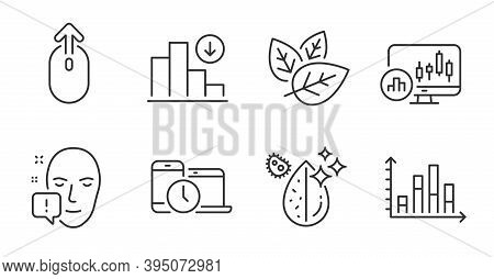 Swipe Up, Organic Tested And Dirty Water Line Icons Set. Face Attention, Decreasing Graph And Diagra