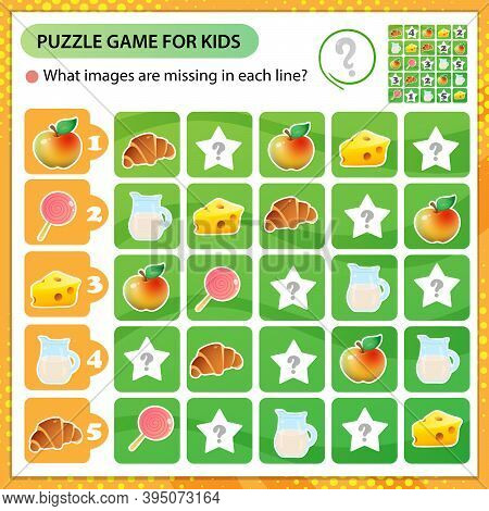 Sudoku Puzzle. What Images Are Missing In Each Line? Food. Logic Puzzle For Kids. Education Game For