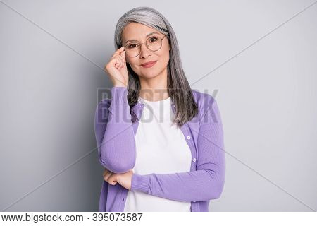Best Nanny For Our Children. Portrait Photo Of Middle Age Woman Touching Keeping Wearing Eyeglasses