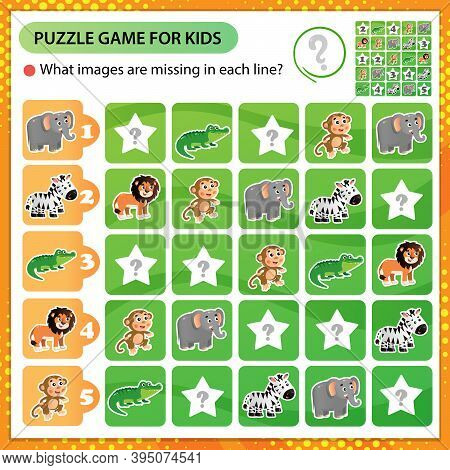 Sudoku Puzzle. What Images Are Missing In Each Line? Animals Of Africa. Zebra, Crocodile, Monkey, Li