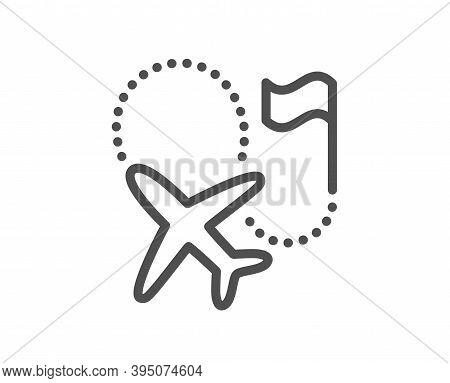 Destination Flag Line Icon. Goal Flight Travel Sign. Location Pin Symbol. Quality Design Element. Li