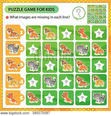 Sudoku Puzzle. What Images Are Missing In Each Line? Baby Animals. Little Cat, Lion, Tiger, Cheetah,