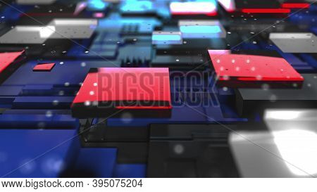 3d Render Technology Background. Complicated Abstract Surface, Computer Generated