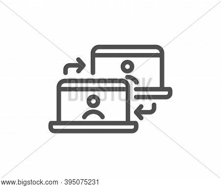Outsource Work Line Icon. Job At Home Sign. Remote Office Employees Symbol. Quality Design Element.