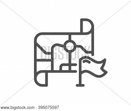 Flag On Map Line Icon. Goal Destination Sign. Location Pin Symbol. Quality Design Element. Linear St