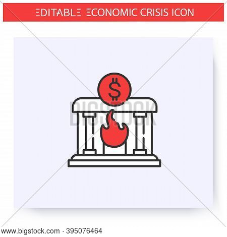 Banking Crisis Line Icon. Financial Recession, Bankruptcy. Dollar Sign And Burning Bank. Economical