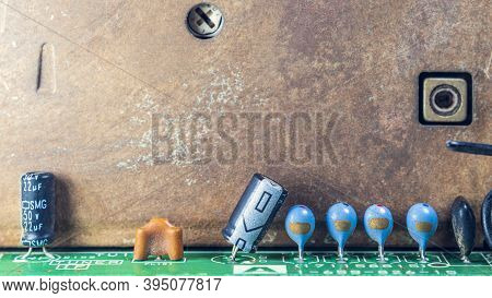 Capacitors On Tv Circuit Board,macro Close Up,copy Space