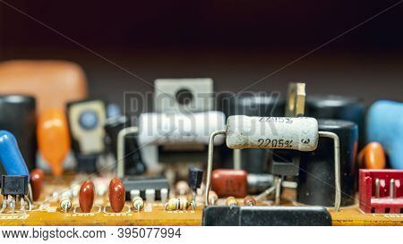 Electrical Components On Tv Circuit Board,macro Closeup