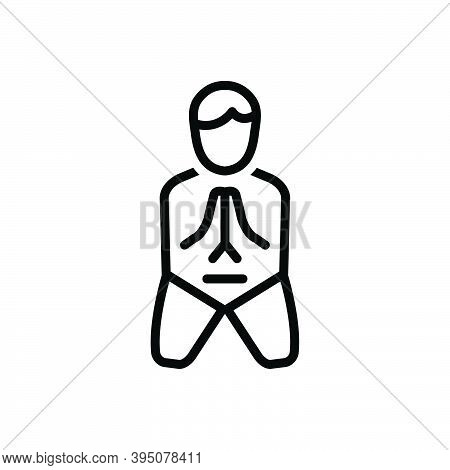 Black Line Icon For Sorry Apologetic Contrite Pitiful Deplorable Lamentable Please Hand Pray Human