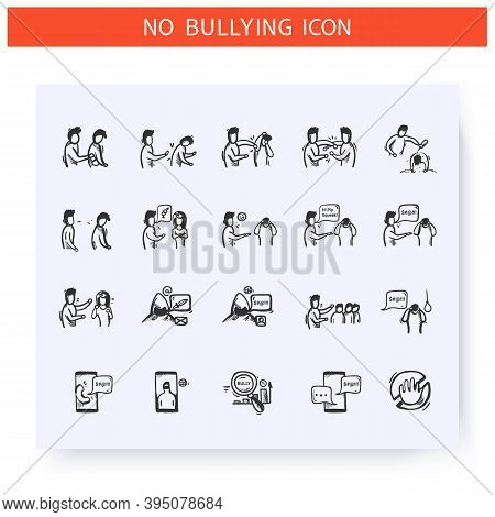 Bullying Icons Set. Outline Sketch Drawing. Bullying Types. Cyberbullying. Social Abuse, Aggression,