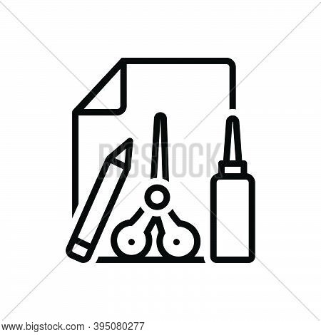 Black Line Icon For Tcraft Activity Art Stationery Scissors Object Glue Scrapbook Pencil Creative Ha