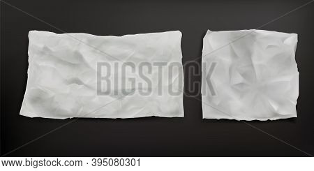 Crumpled Baking Paper Sheets Isolated On Gray Background. Vector Realistic Mockup Of Blank Old Paper