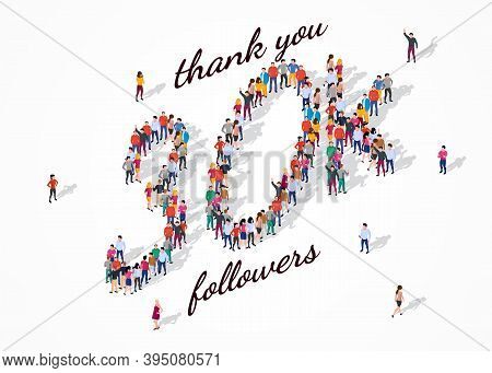30k Followers. Group Of Business People Are Gathered Together In The Shape Of 30000 Word, For Web Pa