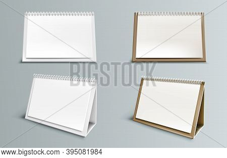 Calendar Mockup With Blank Pages And Spiral. Desktop Horizontal Paper Calender Mock Up Front And Sid