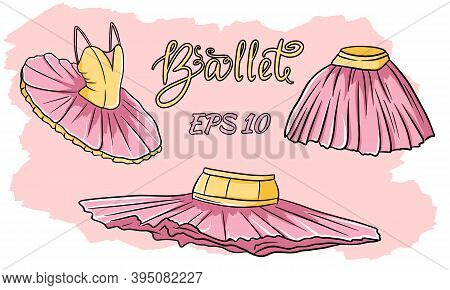 A Set Of Ballet Clothes. Skirt, Tutu. Vector Set Isolated