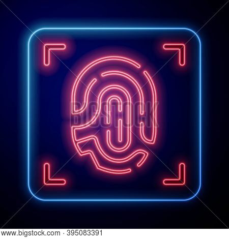 Glowing Neon Fingerprint Icon Isolated On Blue Background. Id App Icon. Identification Sign. Touch I