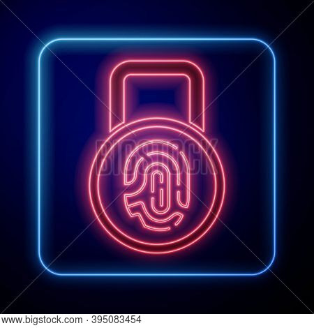 Glowing Neon Fingerprint With Lock Icon Isolated On Blue Background. Id App Icon. Identification Sig
