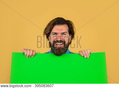 Add. Copy Space For Text. Advertising Banner. Seasons Sale. Advertising Board And Sale. Bearded Man