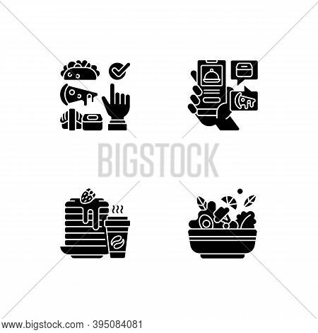 Delivering Groceries, Pre-prep, Pre-made Meals Black Glyph Icons Set On White Space. Choosing Cuisin