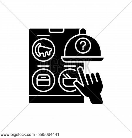 Choosing Restaurant Black Glyph Icon. Online Food Delivery. Ready-made Meals. Takeout From National