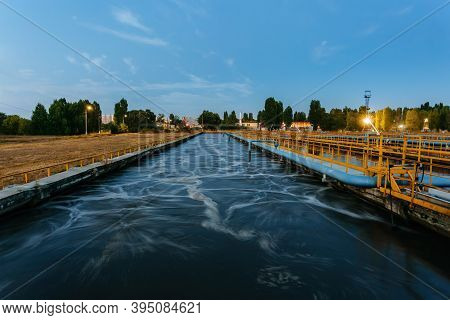 Modern Wastewater Treatment Plant. Tanks For Aeration And Biological Purification Of Sewage At Night