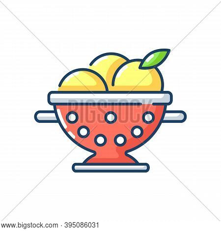 Colander Rgb Color Icon. Strainer To Rinse Fruits. Wash Fruits In Pot With Holes. Kitchen Tool For C