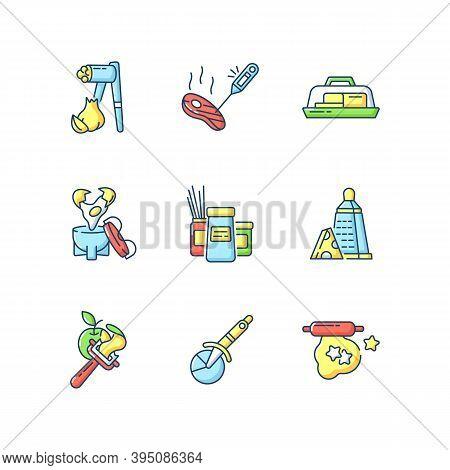 Food Preparation Utensils Rgb Color Icons Set. Garlic Press. Butter Dish. Egg Coddler. Kitchen Tools