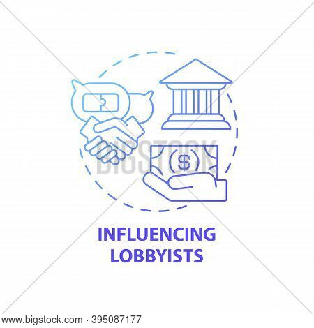 Influencing Lobbyists Concept Icon. Business Consulting Task Idea Thin Line Illustration. Negotiatin