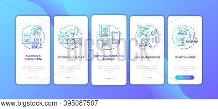 Business Advisory Services Onboarding Mobile App Page Screen With Concepts. Advertising, Publishing