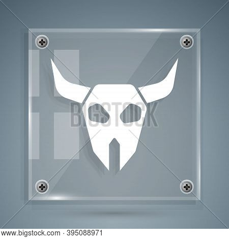 White Buffalo Skull Icon Isolated On Grey Background. Square Glass Panels. Vector