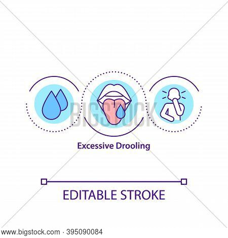 Excessive Drooling Concept Icon. Saliva In The Mouth Excess. Medical Conditions. Chronic Health Cond