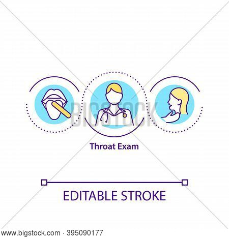 Throat Exam Concept Icon. Checking Your Throat With Special Instrument. Health Care System Treatment