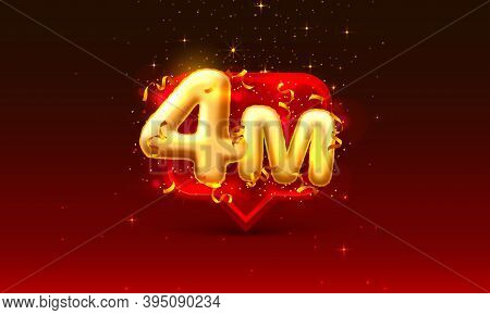 Thank You Followers Peoples, 4m Online Social Group, Happy Banner Celebrate, Vector