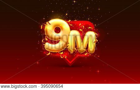 Thank You Followers Peoples, 9m Online Social Group, Happy Banner Celebrate, Vector