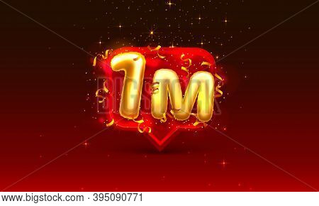Thank You Followers Peoples, 1m Online Social Group, Happy Banner Celebrate, Vector