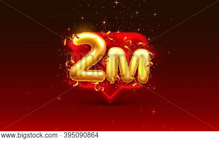 Thank You Followers Peoples, 2m Online Social Group, Happy Banner Celebrate, Vector
