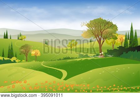 Spring Landscape In Countryside With Green Meadow On Hills, Clouds And Blue Sky,vector Beautiful Sum
